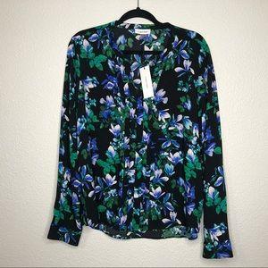 Calvin Klein long sleeve black/blue/green blouse